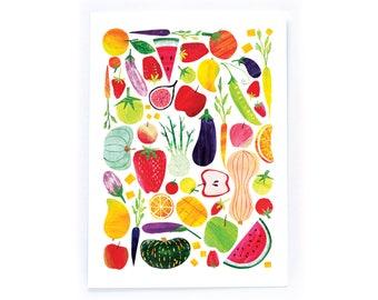 Archival Digital Print Acrylic Collage Illustration - Fruit and Veggies