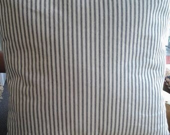 Blue Ticking Stripe PillowCover, 16''x 16'' Blue French Ticking Pillow, DecorativePillowCover, Country French Home, Shabby Farmhouse Cottage
