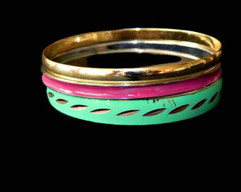 Stack Bracelets Set of Three Pink Green Gold Bangle Bracelet