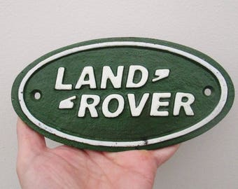 Cast Iron Land Rover Advertising Dealership Display Sign - Hand Painted - Classic Icon Shop Display
