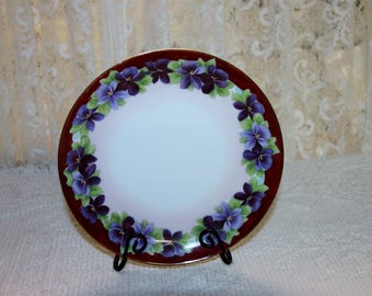 BTS Hand Painted Plate Germany, Pansies, 8""