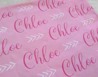Personalized pink baby name swaddle blanket: baby and toddler personalized name newborn hospital gift baby shower gift