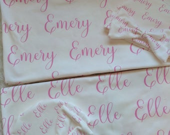 Personalized pink baby name hat and swaddle blanket set: baby and toddler personalized name newborn hospital gift baby shower gift