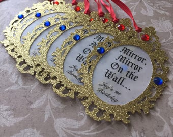 6 Gold Mirror Tags
