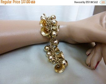 Christmas in July JINGLE JANGLE Bell and Bead Charm Bracelet, Gold Tone Metal, Fabulous and Fun