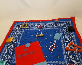 Alzheimers Fidget Quilt, adult quiet time, Gift for grandpa,  wheel chair patients with restless hands, sensory tactile lap blanket