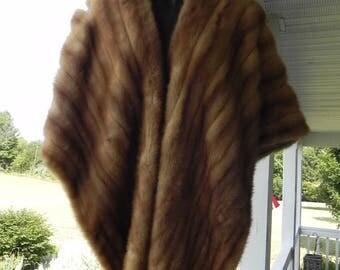 Light Brown Mink Fur Stole Wrap Cape Vintage Fur 1940's