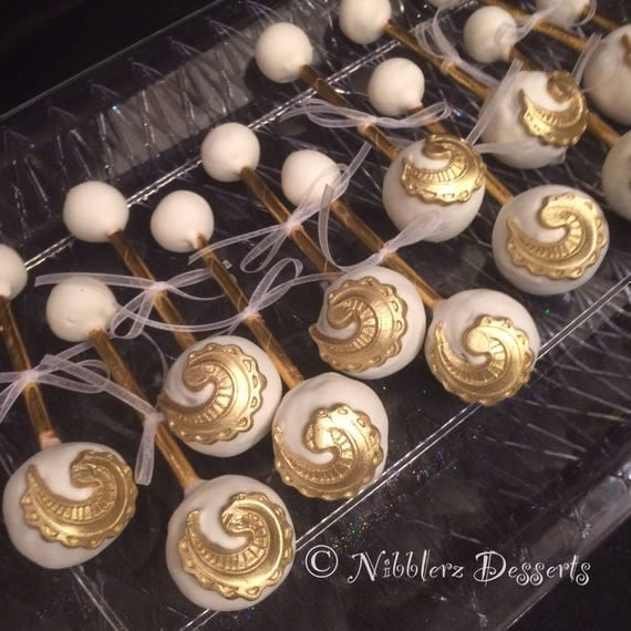 12 Gold And White Baby Rattles Baby Rattle Cake Pops Baby Shower