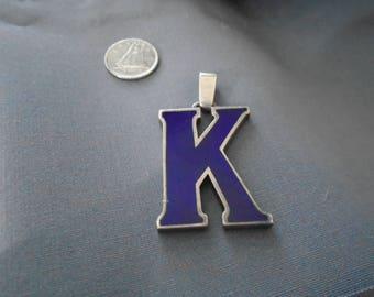 "Initial ""K"" British Enamel Sterling Silver Pendant 23g"