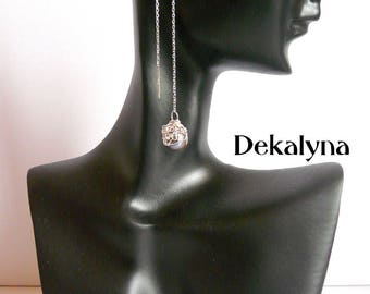 Earrings in silver and cultured pearl made by Dekalyna