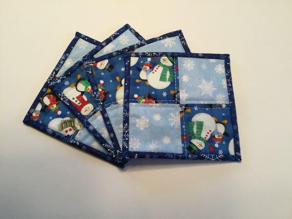 Quilted Mug Rugs, Christmas mug rugs, mug rugs, snowman mug rugs, snowflake mug rugs