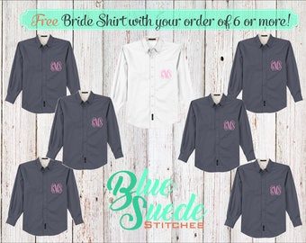 Monogram Wedding Day Shirts 6 or more - Bridesmaid oxford shirts | monogrammed oxford shirts | getting ready shirts | bridal party gifts