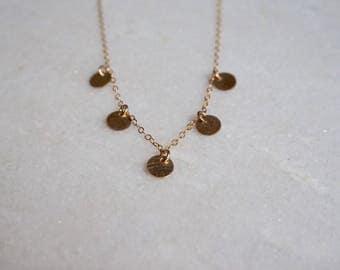 Gold filled  coin necklace -14kt gold filled - by STICKTAILS