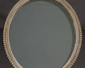 Antique 1930's Oval Wall Mirror, Solid Pine Frame with Gesso Motifs