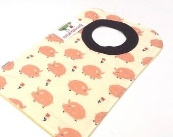 Pullover Bib - Girls Baby Bib - Toddler Bib - Animal Baby Bib - Baby Shower Gift - Large Toddler Bib - Baby Girl Bib - Bib with Pigs - 184