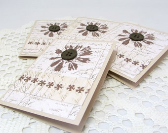 Small Note Cards - Note Cards - Rustic Note Cards - Brown and White - Botanical Note Cards - Button Embellishment - Set of Four Note Cards