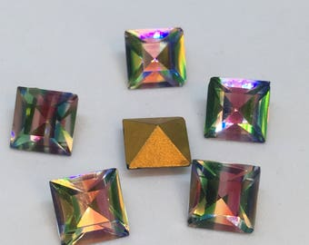 Vintage Glass Square Iris Rainbow colour striped foiled rhinestone jewels approx 8mm - 6 pieces