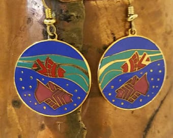 Colorful, tropical fish Laurel Burch cloisonne earrings