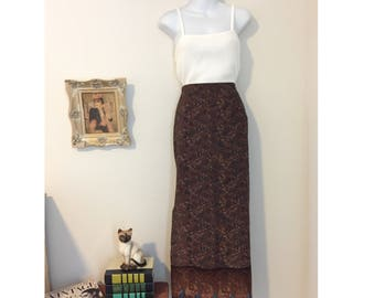 Brown Paisley/Bohemian/ Long Skirt Size XS-Small
