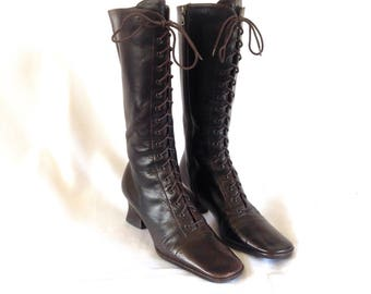 Prada Square Toe Zip-up Victorian Style Leather Boots Sz. 40