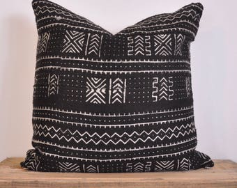 Authentic African Mudcloth decorative pillow black and white
