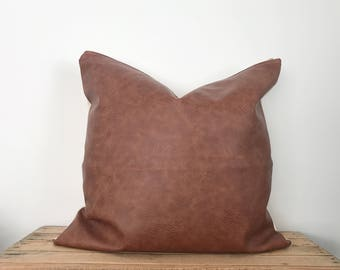 Vegan Leather Pillow Cover | Dark Camel leather pillow | Faux Leather pillow cover