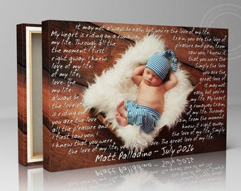 Quote on canvas art, baby photo on canvas, photo and quote, custom quote canvas, custom quote print, baby photo art, personalized quote art