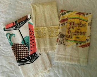 Vintage Hand Towels/Dish Towels - Retro Terry Cloth Kitchen Towels, Fruit Kitchen, Retro Kitchen, Pick 1 Kitchen