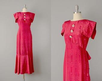 30s Dress // 1930's Red Silk Moiré Mermaid Gown  // S-M