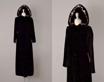 30s Coat  // 1930s Black Silk Velvet Hooded Evening Coat w/ Sequins & Beading // S
