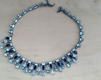 Really gorgeous blue and clear rhinestone choker necklace from 1950's.