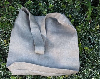 One Handle Linen Tote Bag