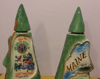 Vintage Jim Beam Bourbon Whiskey Decanter Visit Me The Great State of Maine