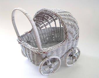 White Wicker Wicker Doll Carriage, Doll Stroller Basket, Baby Shower, Chippy White Wicker, Shabby Home Decor, Small Planter, Vintage Wicker