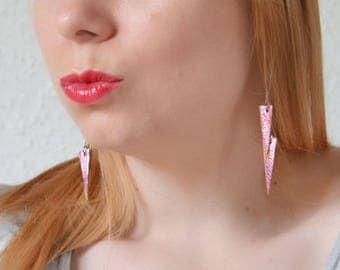 Pink statement earrings, Metallic leather earrings, Long triangle earrings, Minimalist geometric, Leather gift for daughter, Beach jewelry