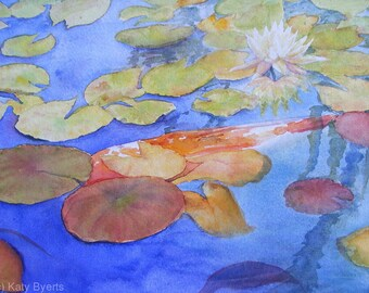 Watercolor California Koi lilly pond