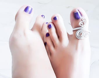 Adjustable toe ring - Big Toe Ring - Silver Toe Ring - Toe Ring Sandal - Beach toe ring - Silver toering - Wrapped Toe Ring - Body Jewelry