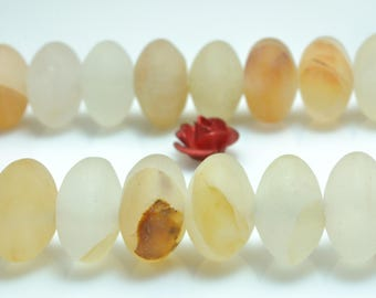 59 pcs of Natural Citrine matte rondelle beads in 6X10mm