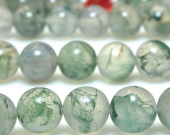47 pcs  of  A Grade--Natural moss agate smooth round beads in 8mm(06622#)