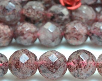 47 pcs of Natural Straberry crystal faceted round beads in 8mm (06032#)