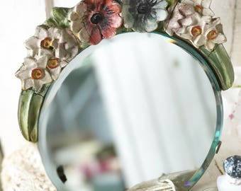 A gorgeous antique Barbola dressing table mirror