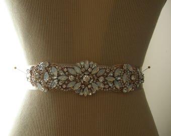 Sale, Rose Gold Wedding Belt, Rosegold Wedding Sash, Bridal Belt, Bridesmaid Belt, Sash Belt, Rose Gold, Crystal Rhinestone, Pearl & Opal