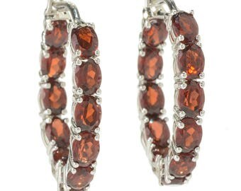"""Rhodium Over Sterling Silver 4.78ctw Red Garnet Hoops Earring 0.75""""L"""