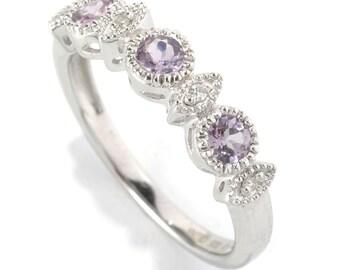 Platinum o/ Silver 0.38ctw Lavendar Spinel & Diamond Band Ring, Size 7