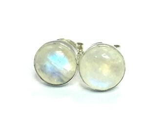Rainbow Moonstone Stud Earrings 6mm .. Rainbow Moonstone Earrings ..  Rainbow Moonstone Studs .. Rainbow Moonstone Jewelry ..  Small Studs
