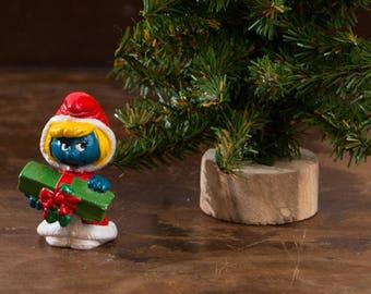 Vintage Smurfette Christmas Figure, 1981 Schleich Peyo 20153, Smurfette PVC Figure