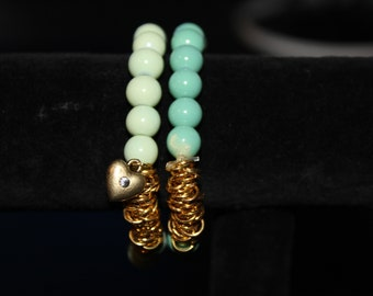 Light green with gold - elastic two-piece bracelet set