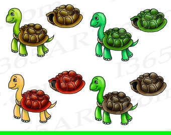 50% OFF Turtle Clipart, Turtle clip art, cartoon, graphic, Scrapbooking, Invitations, Kids, 6x6 Digital, PNG & JPEG, Instant Download, Comme
