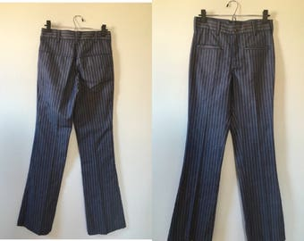 vintage 70's STRIPED FLARED tailored highwaisted SAILOR denim pants - small