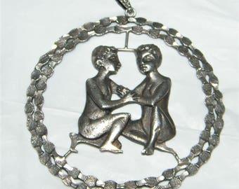 Vintage Italian marked 800 Silver Gemini Pendant